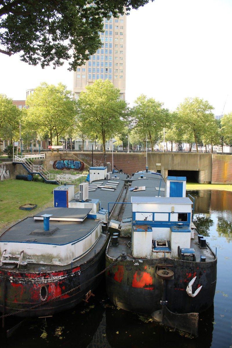 zwei Hausboote in Rotterdam