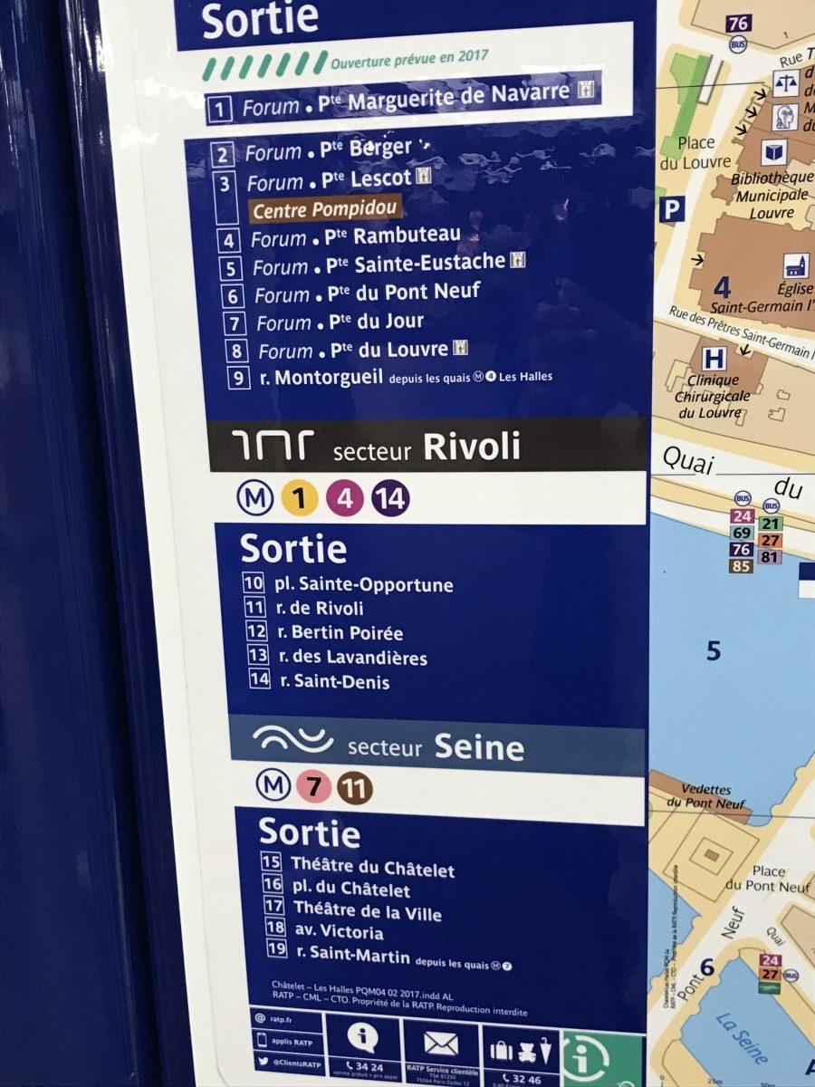 Plan der Ausgänge der Metro-Station Chatelet Les Halles