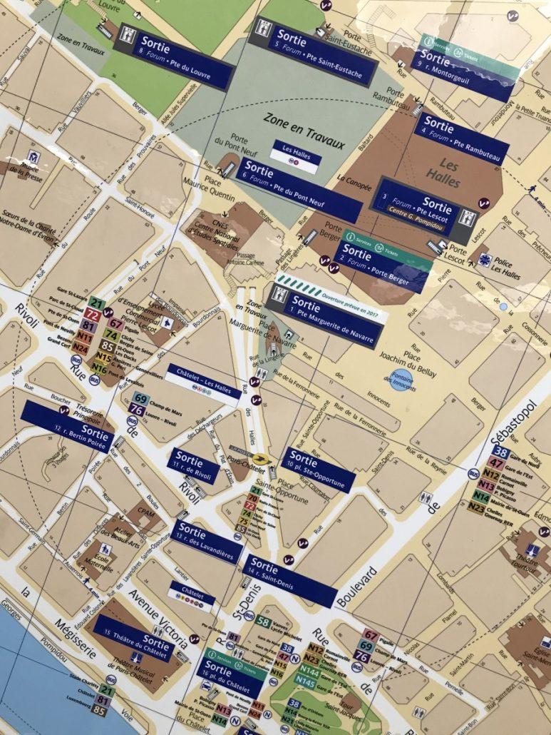 Plan der Metro-Haltestelle Chatelet Les Halles