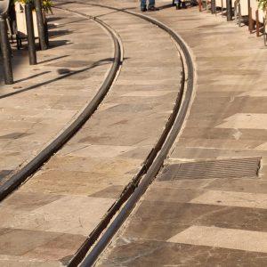 Schienen der Straßenbahn in Sóller