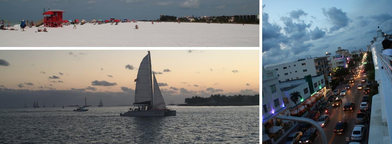 Miami South Beach, Segelboot im Sonnenuntergang vor Key West, Siesta Key Beach