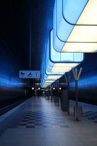 blaue Lichtcontainer HafenCity-Universität U4