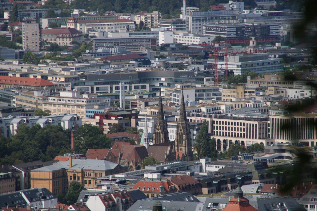 Aussicht auf die Innenstadt von Stuttgart