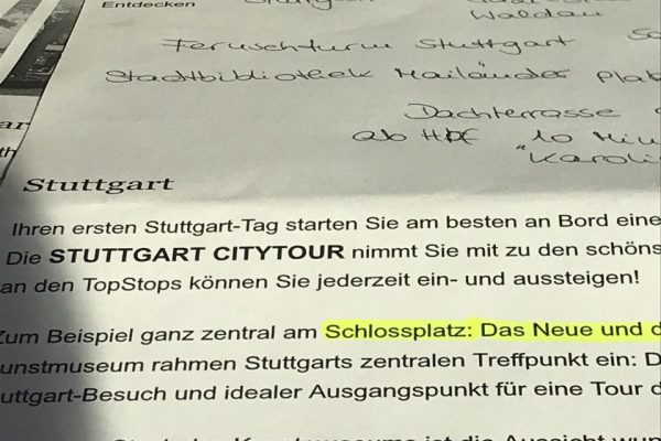 Programm-Planung für Stuttgart-Trip