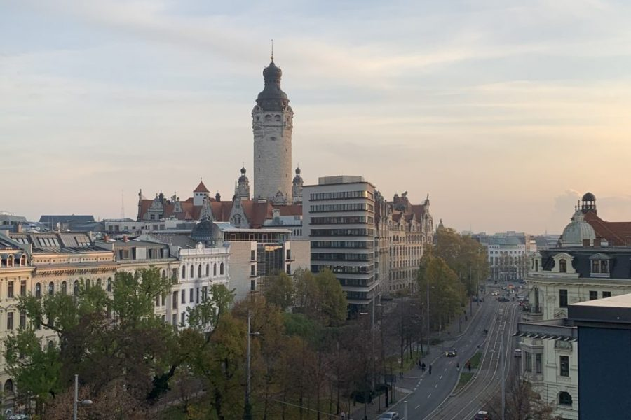 Blick auf das Neue Rathaus in Leipzig