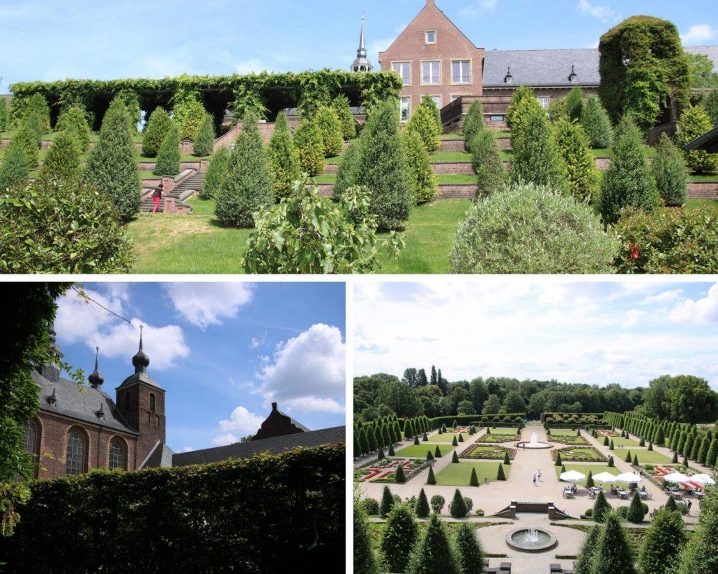 Terrassengarten, Klostergarten und Kirche von Kloster Kamp